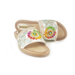 LOW LEATHER CLOGS WITH FLOWERS