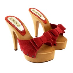 RED SUEDE CLOGS HEEL 13