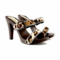 CLOGS DOUBLE LEOPARDED BAND
