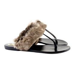 FUR LEATHER SANDAL