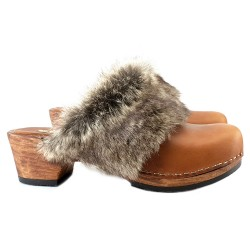 WINTER FUR LEATHER CLOGS