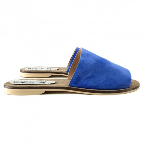 SLIPPERS  ITALIANO IN CAMOSCIO BLU NAVY