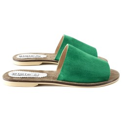 SLIPPERS  ITALIANO IN CAMOSCIO VERDE