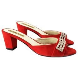 Sandales en Suede Rouge