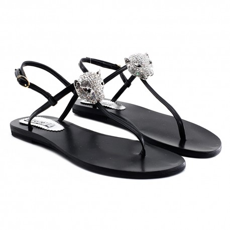 BLACK FLAT SANDALS WITH ACCESSORY