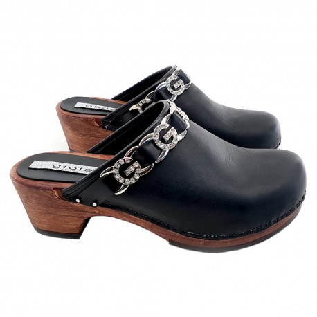 BLACK SWEDISH CLOGS WITH ACCESSORIES