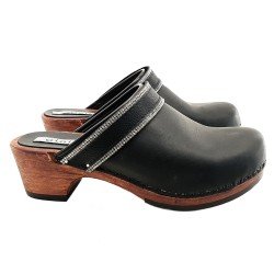 BLACK LEATHER CLOGS WITH PASTE