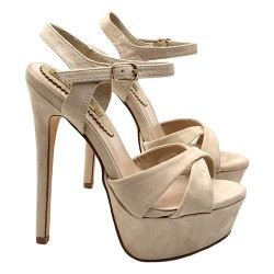 HIGH HEEL BEIGE SANDALS