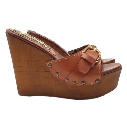 WEDGE LEATHER CLOGS WITH BUCKLE