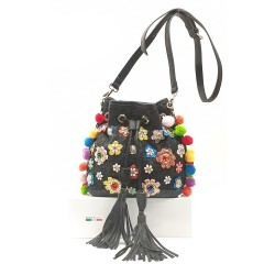 BUCKET BAG WITH POMPOM