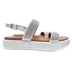 SILVER SANDALS WITH PASTE