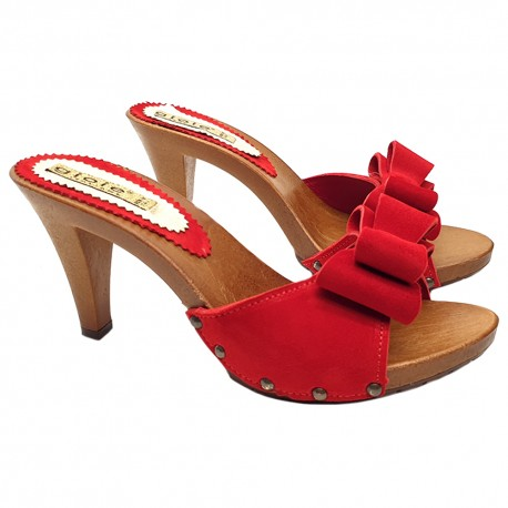 RED HEEL CLOGS WITH BOW