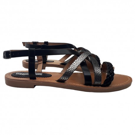BLACK SANDALS WITH ANKLE STRAP