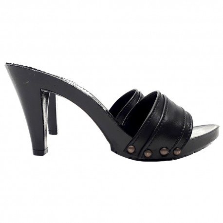 BLACK LEATHER HEEL CLOGS