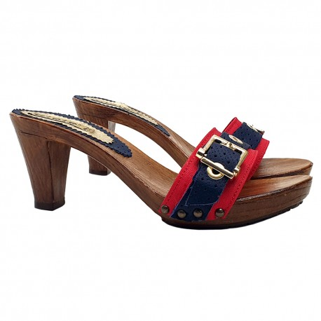RED AND BLUE HEEL CLOGS