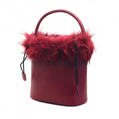 WOMEN'S RED BUCKET BAG