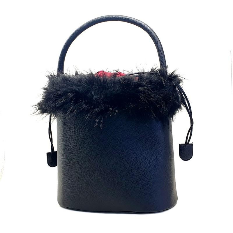 WOMEN'S BLACK BUCKET BAG
