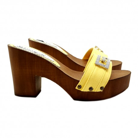 YELLOW CLOGS WITH COMFY HEEL 9