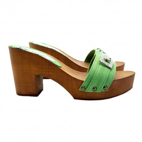 CLOGS GREEN WITH COMFY HEEL 9