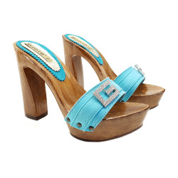 CLOGS TURQUOISE WITH JEWEL ACCESSORY - G8105 TURCHESE