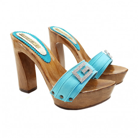 CLOGS TURQUOISE WITH JEWEL ACCESSORY