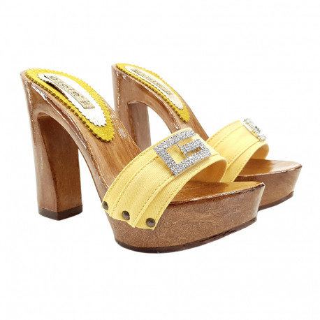 YELLOW CLOGS WITH JEWEL ACCESSORY