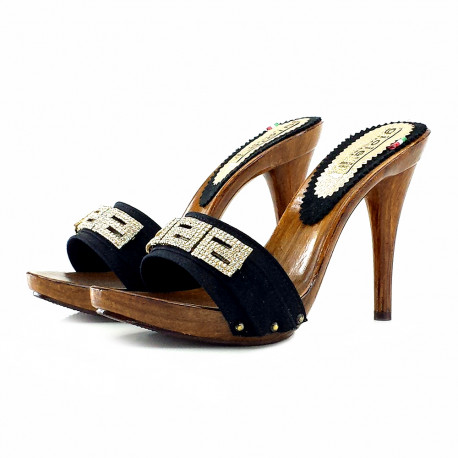 CLOGS WITH STRASS BLACK