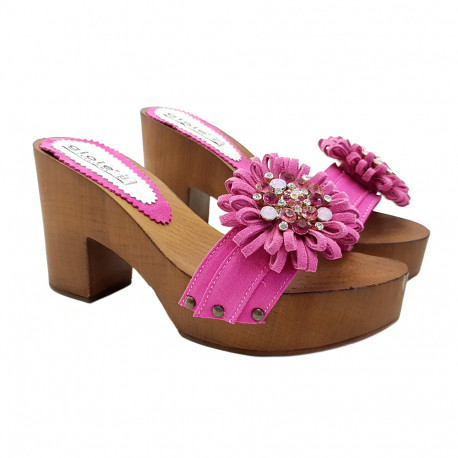 CLOGS FUCSIA WITH COMFY HEEL AND FLOWER