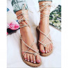 BEIGE LACE UP FLIP FLOPS SANDAL