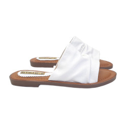 WHITE LOW SANDAL ECO-LEATHER