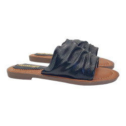 BLACK LOW SANDAL ECO-LEATHER