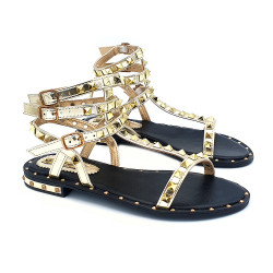 WOMEN'S SANDAL IN GOLD UPPER WITH DECORATION