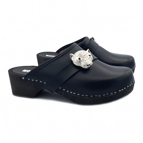LEATHER CLOGS WITH ACCESSORY HEEL 5