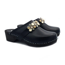 LEATHER SWEDISH CLOGS WITH ACCESSORY HEEL 5