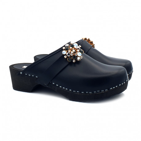 LEATHER SWEDISH CLOGS HEEL 5 AND ACCESSORY