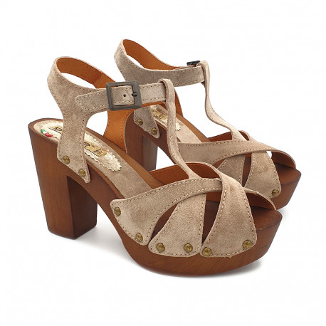 BEIGE SANDALS IN SUEDE HEEL 9