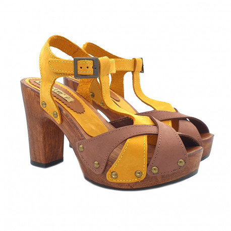 BICOLOUR SANDALS IN NUBUCK LEATHER HEEL 10