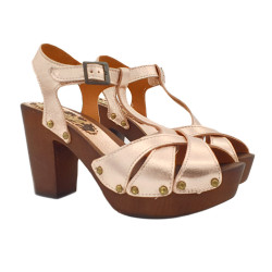 SANDALS IN BRONZE LEATHER HEEL 10