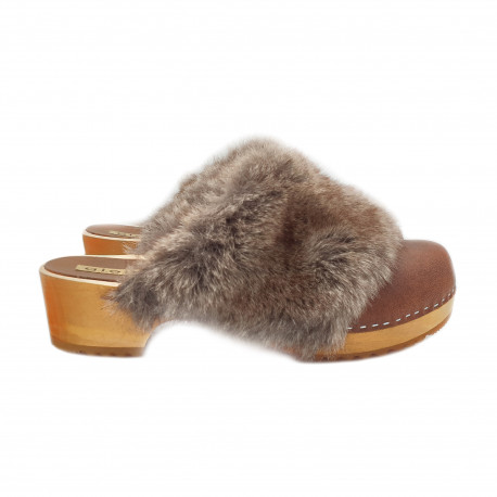 BROWN LEATHER SWEDISH CLOGS HEEL 5 AND SYNTHETISH FUR