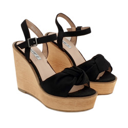 BLACK WEDGE CLOGS WITH ANKLE STRAP