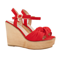 RED WEDGE CLOGS WITH ANKLE STRAP