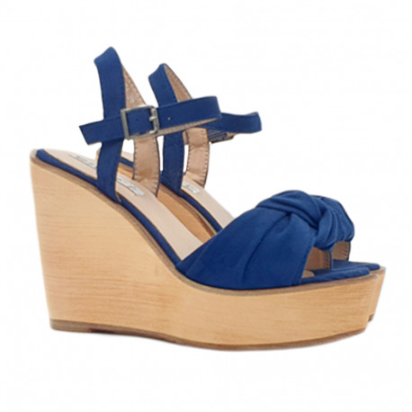 BLUE WEDGE CLOGS WITH ANKLE STRAP