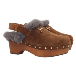 BROWN SWEDISH CLOGS IN SUEDE HEEL 6