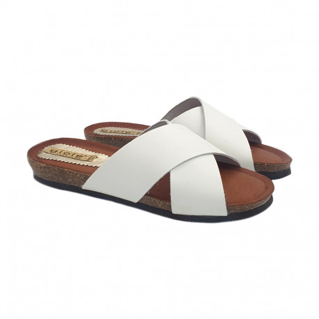 FLAT WHITE CLOGS IN LEATHER