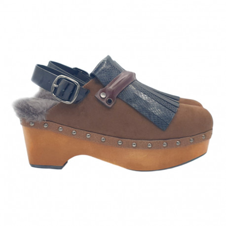 BROWN CLOGS IN LEATHER HEEL 6 WITH FRINGE