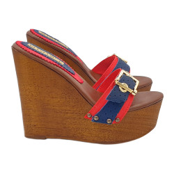RED AND DENIM WEDGE CLOGS