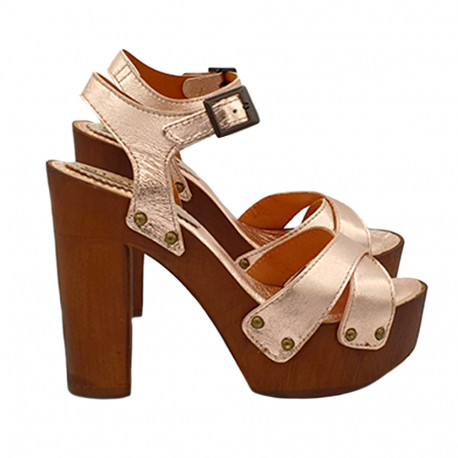 SANDALS IN BRONZE LEATHER WITH ANKLE STRAP