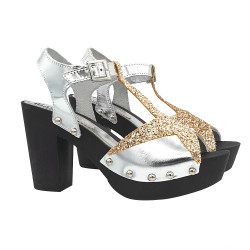 CLOGS WITH GOLD GLITTER SILVER BANDS