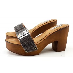 CLOGS IN LEATHER JEWEL