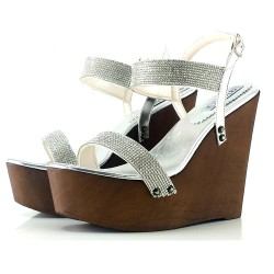 SILVER WEDGE WITH RHINESTONES